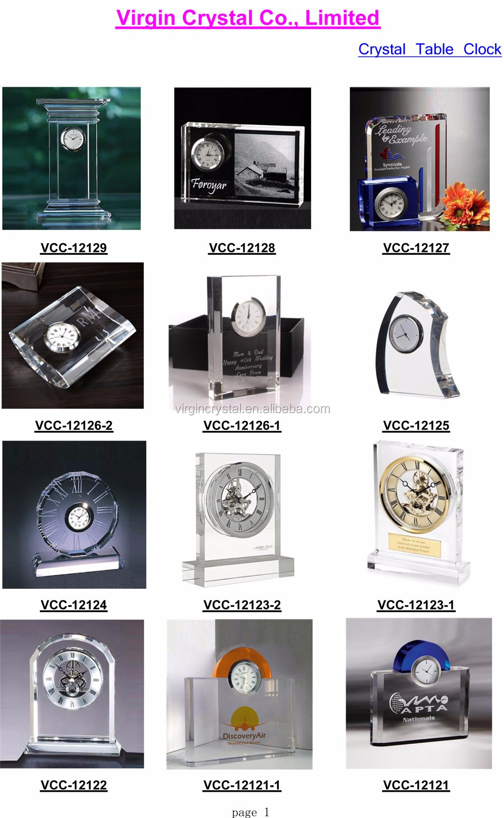 Handmade crystal glass diamond shape trophy stand clock for company gift