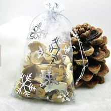 Wholesale 4x6 organza fabric snowflake Christmas gift bags