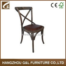 dining room furniture cross back solid wood leather seat vintage style stool