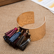 Copper Cuff Bangle With Tassel Charms Opening Wide Bangles for Women Fashion Jewelry