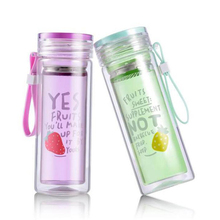 Colorful New Design Double Tea Glass Water Bottle