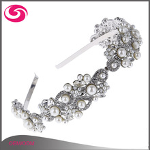 Korean High Quality Delicate Metal Wedding Headpiece Pearl Flower Bridal Headband