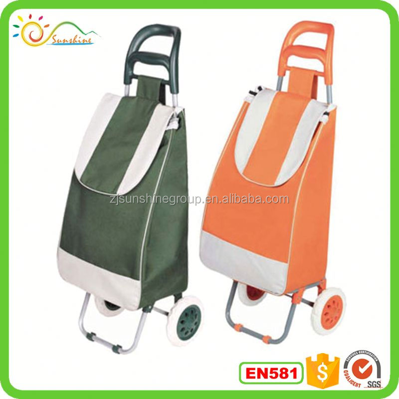 Hand trolley hot sell shopping trolley bag cart, two wheels with plastic handrail