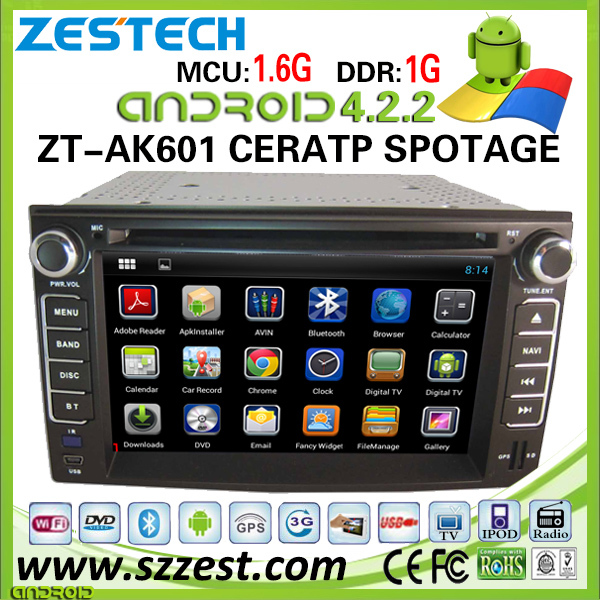 2014 Lastest android car multimedia for Kia Rondo auto radio dvd player with pure android 4.2.2 system navigation interface