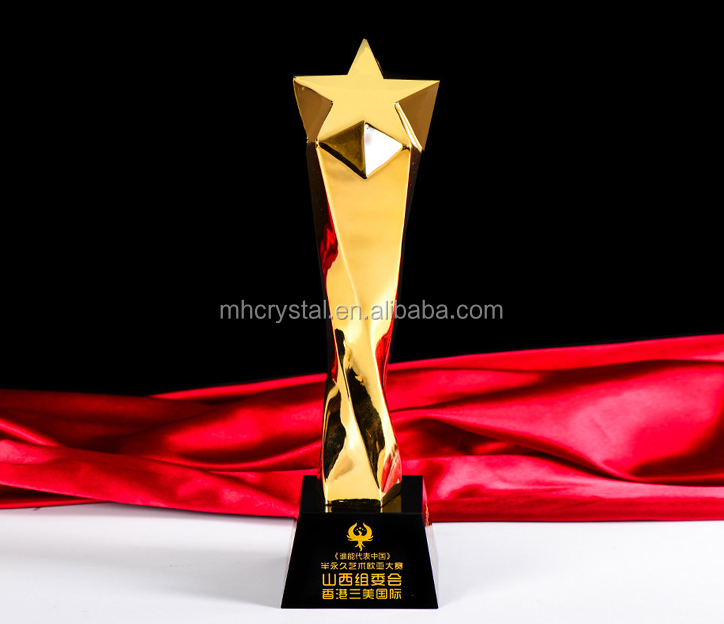 resin Gold Star Trophy crystal award MH-J0946