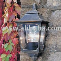 CHAPEL BLACK & GOLD 3 SIDE HALF LANTERN WALL LIGHT