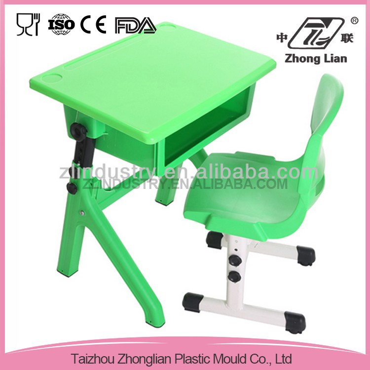 High quality adjustable plastic modern school desk and chair