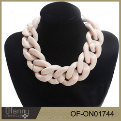 Wholesale Artificial Jewellery Women Fashionable Pink Chain Necklace Designs