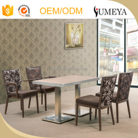 Luxury modern Imitation wooden stainless steel base dining table and chairs