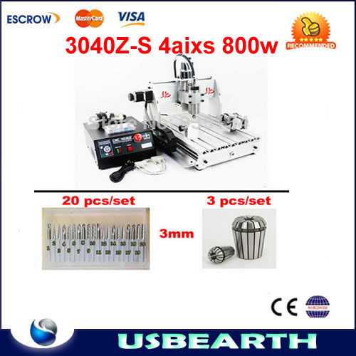 NO TAX to EU country! 4 axis CNC Router 3040 Z-S Engraving machine 800W +tool bits Tungsten Rotary File 20pcs and collet 3pcs