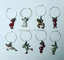 wholesale Christmas Deer Theme Collections Wine Glass Charms Table Decoration