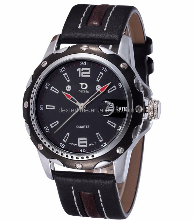 Luxury Brand Original DEXTER Sport Casual W Japan Quartz Case Waterproof Date Leather atch Men's Wristwatches