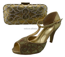 african sandal and matching bag set 9.5cm tihin hight heel shose gold SY50407-3