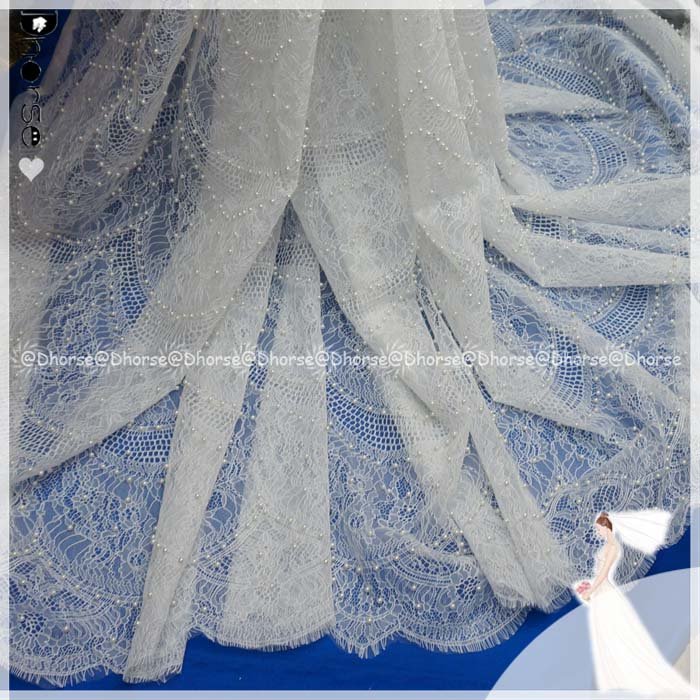 Latest fashion pattern pearls beaded african french lace fabric mixed with cord lace for wedding dress