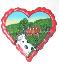 Decoration Fashion Design Polyresin farm style heart shape fridge magnet