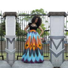 NJ0545 Wholesale African Women Elastic Waist Print Long Maxi Skirt
