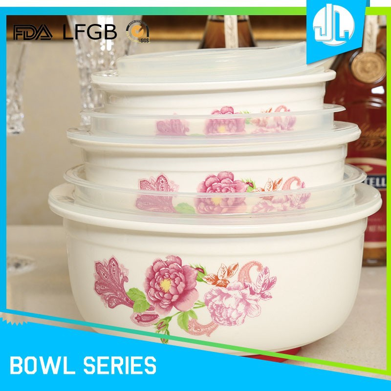 Silicon lid sealing kitchen FDA & LFGB ceramic custom made bowls