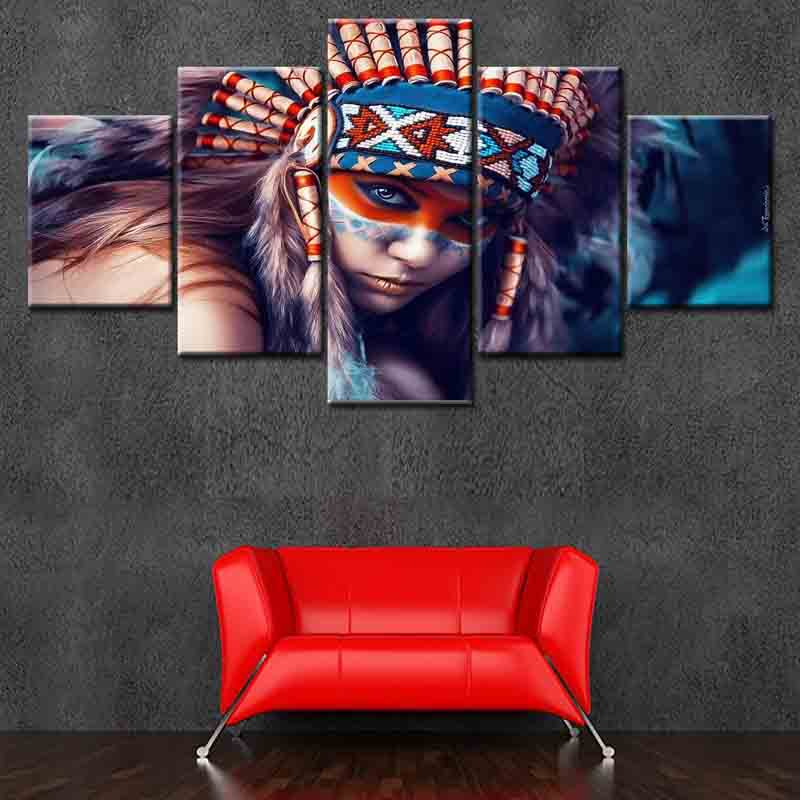 Beautiful Art Native American Indian Girl Feathered Canvas Print Painting Modern Room Wall Art Home Decor