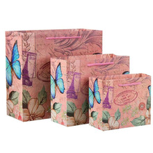 Personalized Cheap Custom Elegant shopping Flowers Printed Gifts Packaging paper bag