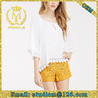 Europe Summer flare sleeve half sleeve elegant lace loose casual woman blouse