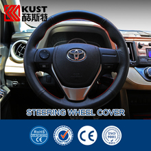 KUST Genuine Leather Steering Wheel Cover For Toyota For RAV4 Interior Accessories Car Steering Covers For RAV4 2013 2014 2015