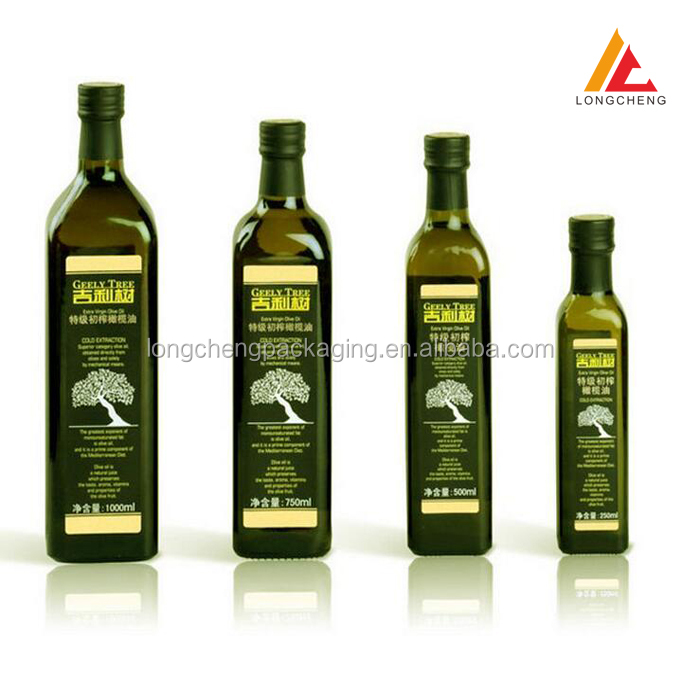 500ml invisible green square shape glass olive oil <strong>bottle</strong> Camellia oil <strong>bottle</strong>