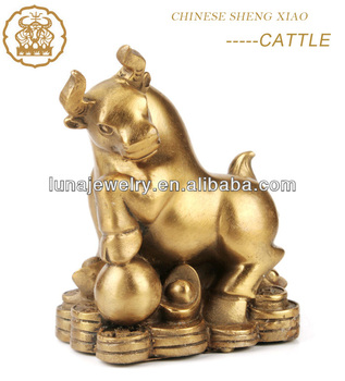 Fabulous Hong Tze Collection-Triple Chinese zodiac animals Resin OX statue