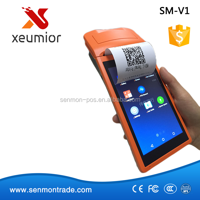 SM-V1 5.5 Inch Touch Screen Handheld Mobile Android POS with Printer and Scanner