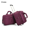 2 pieces set purple color matching color nice quality famous brand names Omaska business trolley bag