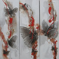 3 Panel Beautiful Butterfly Impressionist Canvas 3D Sculpture Handmade Painting Wall Art Interior Decoration Long Size RA0244