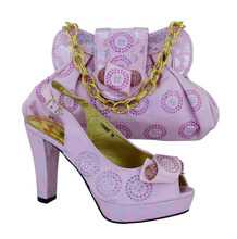CP63005 High quality shoes design Beatiful italian matching shoes and bag set for women PINK