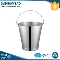 Heavybao Kitchen Equipment Portable Bar Ice Flat Sided Antique Metal Bucket