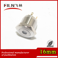 Metal type 16mm waterproof momentary pushbutton switch PIN terminal with dot signal light