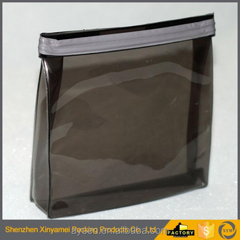 slide-zip top soft vinyl pouches, vinyl zipper pouch,transparent clear vinyl pvc zipper bag with black hanger for garment