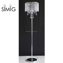 2017 modern standing chrome color crystal chandelier floor lamp for decoration home