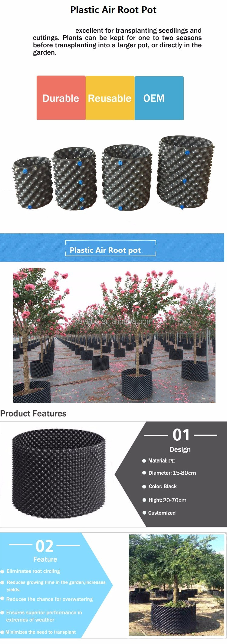 hot sale high quality 3 gallon plastic air root pot for trees root control