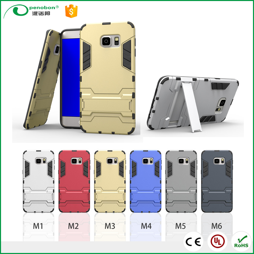 Penobon crashproof armor stand plastic cell phone cover case for Samsung S6- Edge 2017 / S7 prime with kickstand Function