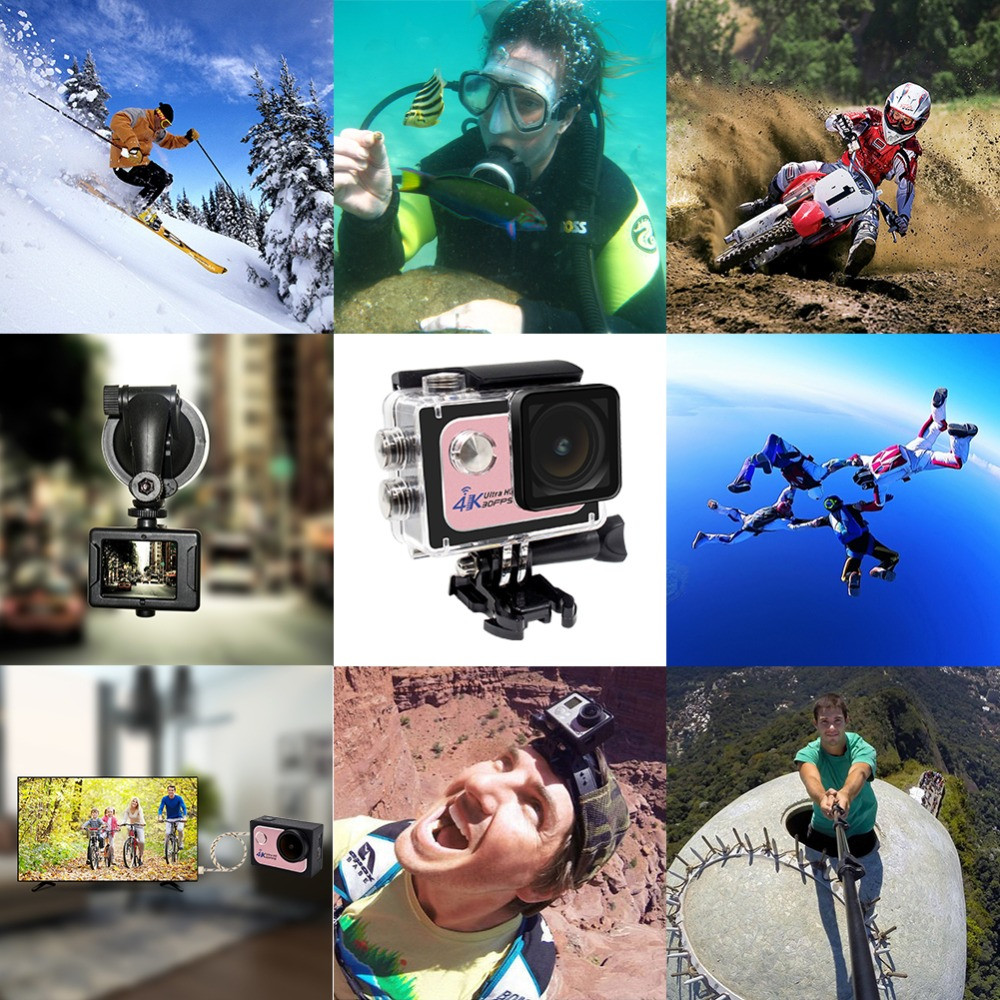 2016 Waterproof 40M Ultra HD 1080P 60fps Sports Camera 16MP 2.0 inch Video 4K Action Camera wifi with Accessories Kit Included
