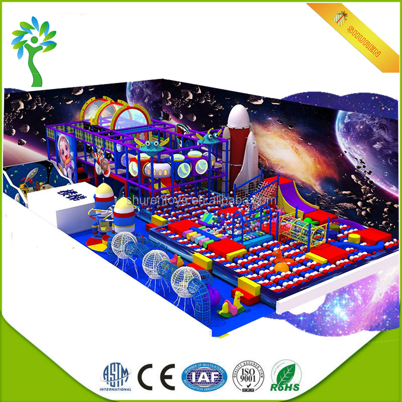 Space Series baby playground indoor soft rope climbing Break through games in ball pool