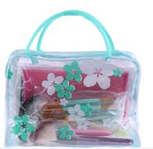 New Waterproof Women Girls Portable Clear PVC Flower Makeup Toiletry Travel Wash Tower Pouch