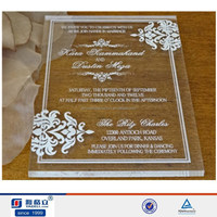 Laser cut high quality acrylic/lucite transparent invitation wedding