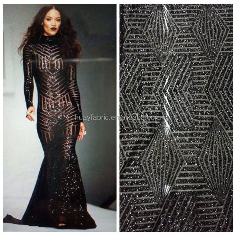 2016 Black sequins african textile fabric fashion show french tulle lace for garment HY0414
