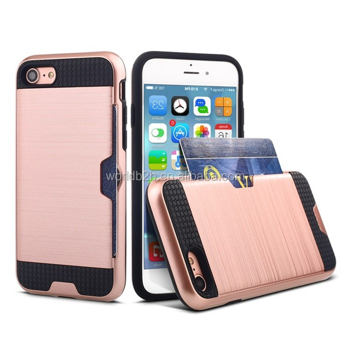 Brushed PC+TPU Shockproof Rugged Card Slot Back Cover Case for iPhone 7
