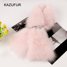 Hot sale real fox fur scarf with pink color for girls/fashion fur scarf KZ160083
