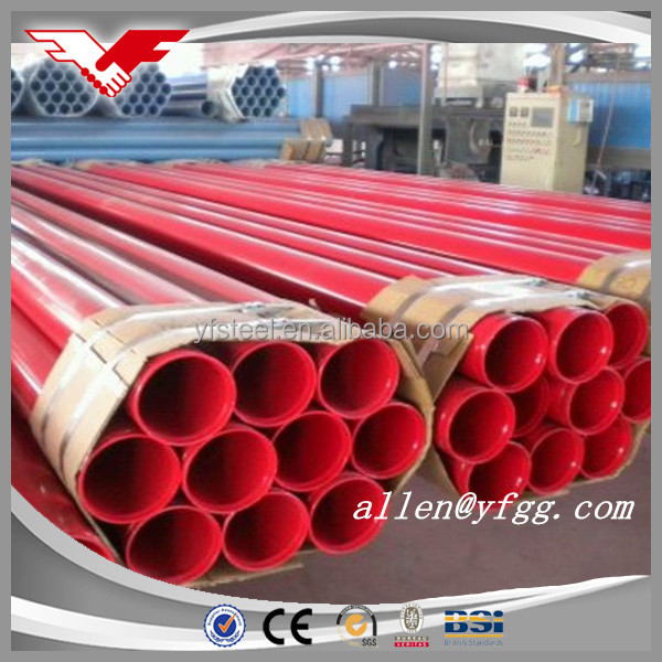 Red painted and grooved each end Fire Protection Steel Tube