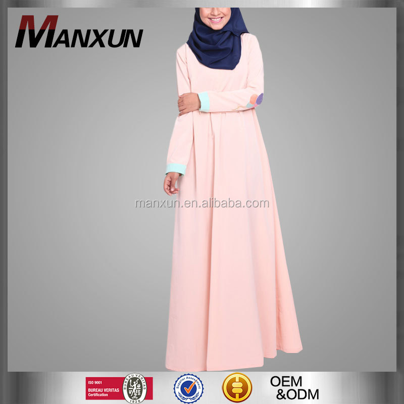 2017 Fashion Baju Muslim Abaya Islamic Clothing Pink Long Jubah Muslim Baju Kurung And Baju Malayu Long Kebaya Dress
