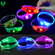 Music Activated/Motion Sensor Led Flashing Light Up Bracelet, TPU Led Wristband With Logo