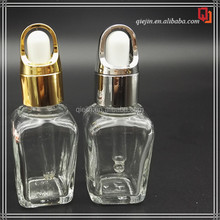 Makeup Packaging Clear 20ml 30Ml Square Glass Dropper Bottle with top and dropper tube
