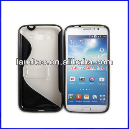 Hot selling Phone Case for Samsung Galaxy Mega 5.8 I9150 S Line TPU Gel Case with hard stand,Laudtec