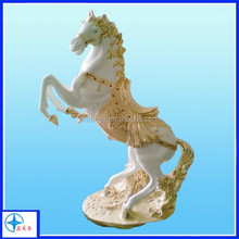 2015 Hot Sale Lifelike Handmade Polyresin galloping white horse Figurine, decorative animal figurines